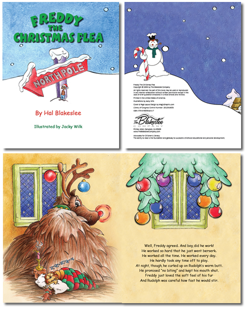 Page layout samples for a children's book Freddy the Flea