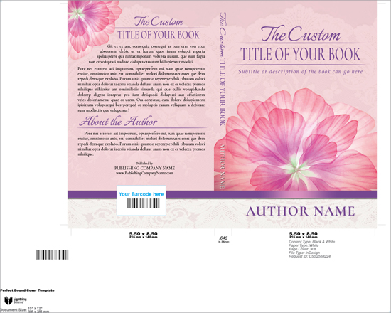 Sample of a Premade Book Cover Design placed in a Lightning Source template.