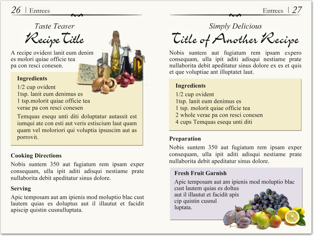 Cookbook page layout to match a cover design