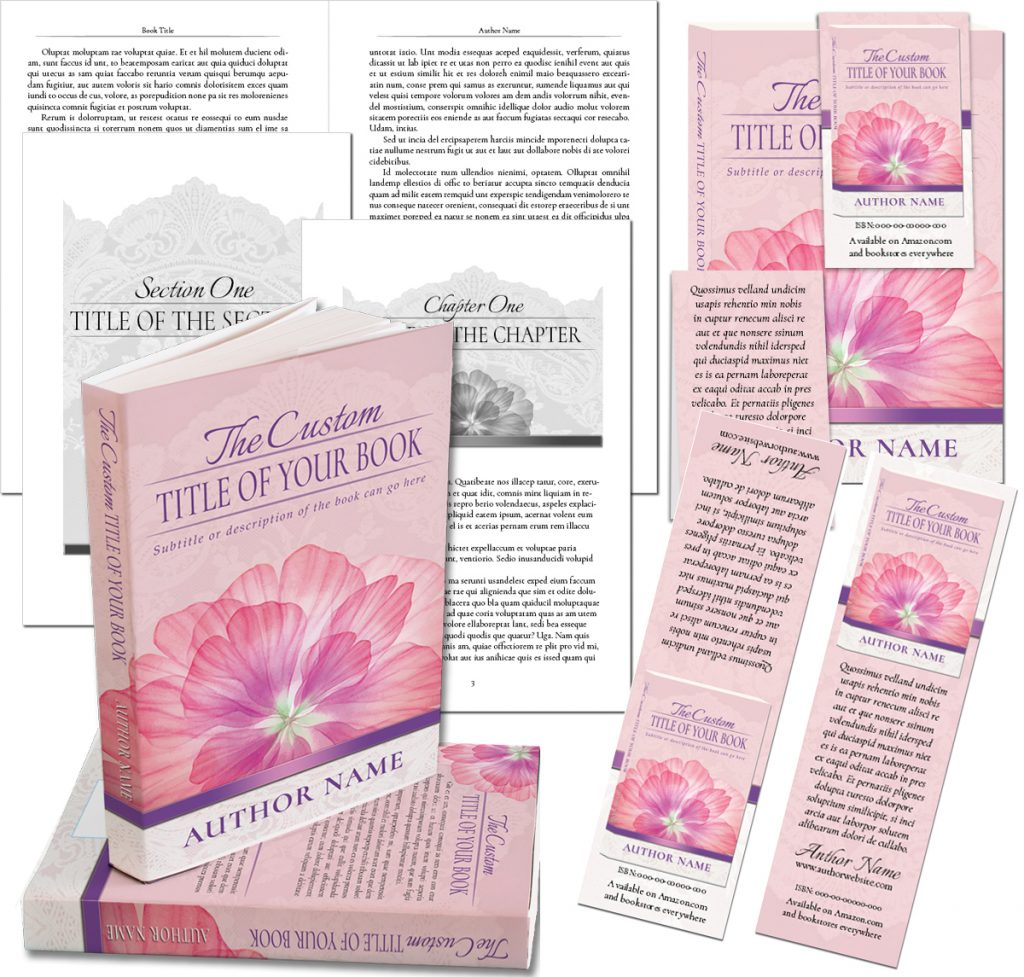 A complete book cover and page layout design with marketing materials for self-publishing
