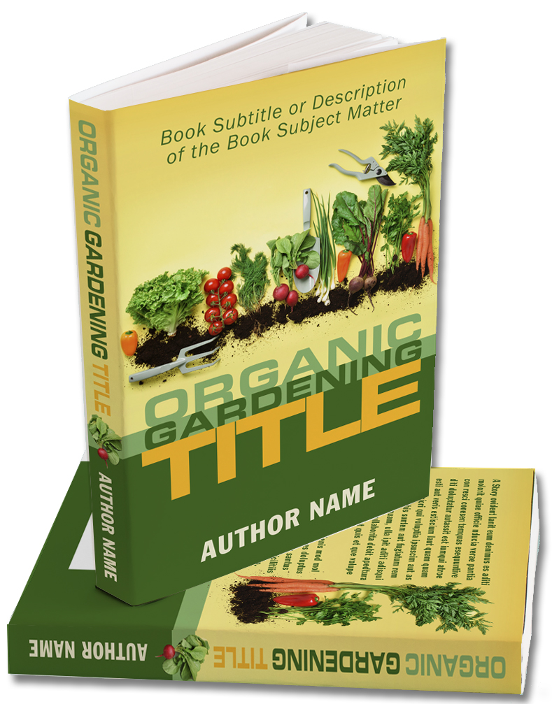 A premade book cover for an Organic Gardening book
